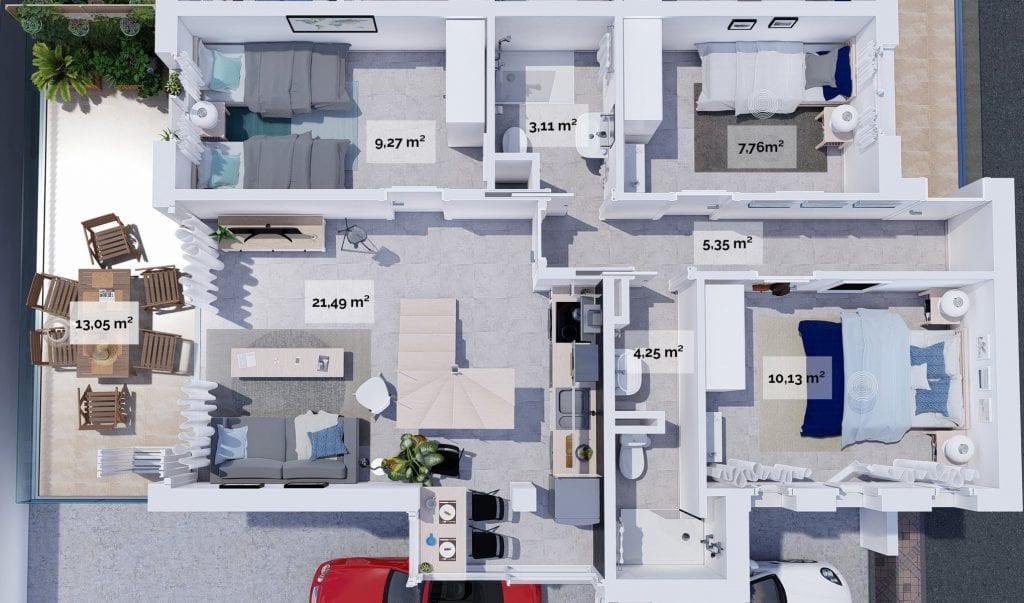 Plano 3D de vivienda en Almuñécar